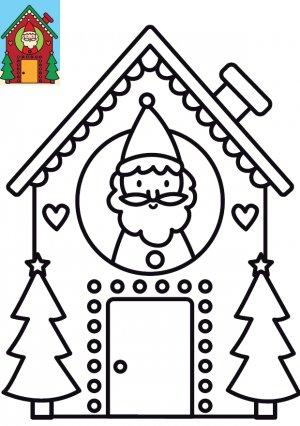 Coloriage Maison Du Père Noël à Imprimer Pour Enfants