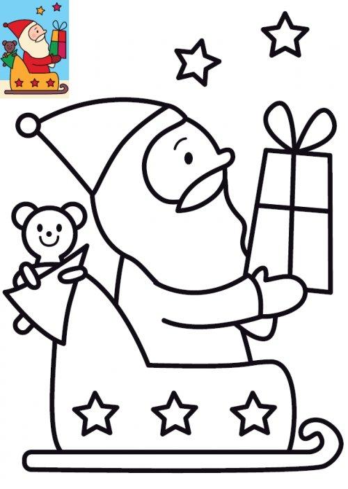 Image de no l pour enfants le coloriage du p re no l et son traineau imprimer - Dessin de noel pour enfant ...