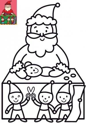 Coloriage De Noël Le Père Noël Avec Ses Lutins à Imprimer Pour Les