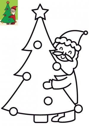Coloriage Le Père Noël et le sapin à imprimer pour enfants