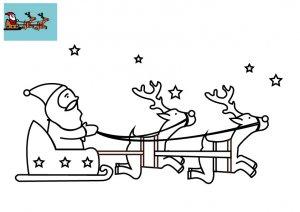 Coloriage Le Pere Noel Dans Le Ciel A Imprimer Pour Enfants