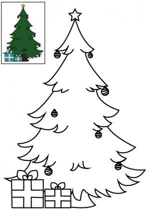 Coloriage le sapin de Noël décoré à imprimer pour les enfants