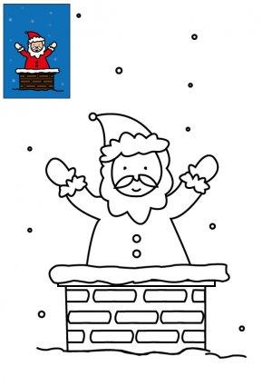 Coloriage Le Pere Noel Dans La Chemine A Imprimer Pour Les Enfants