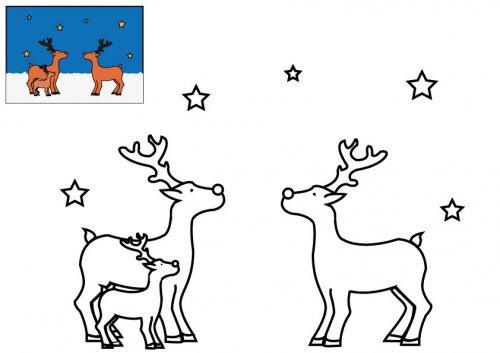 Coloriage les rennes du p re no l imprimer pour les enfants - Dessin renne de noel ...