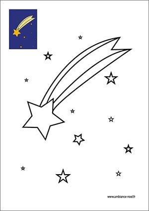 Coloriage Etoile De Noel Gratuit A Imprimer.Coloriage De Noel De L Etoile Du Berger Dans Le Ciel A Imprimer