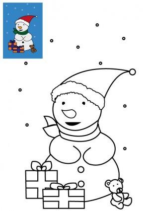 Coloriage de Noël Le bonhomme de neige avec cadeaux de Noël à imprimer gratuitement pour les enfants