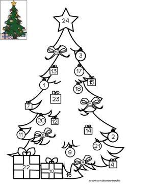 Coloriage de Noël Le calendrier de l'Avent à imprimer gratuitement pour les enfants