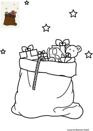 Coloriage de Noël La hotte du Père Noël remplie de cadeaux à imprimer gratuitement pour les enfants