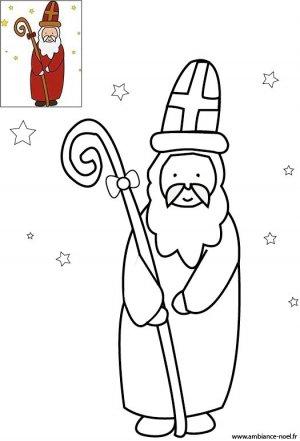 Coloriage le Saint Nicolas avec sa crosse et sa cape rouge à imprimer pour les enfants