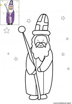 Coloriage le Saint patron des écoliers avec sa cape violette à imprimer pour les enfants
