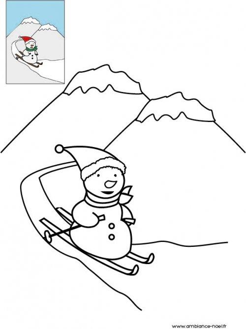 Coloriage de no l bonhomme de neige qui fait du ski - Coloriage de bonhomme ...