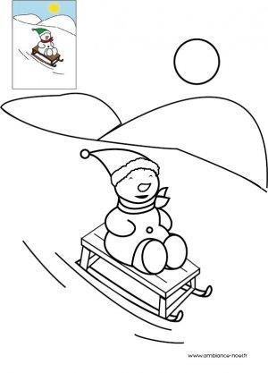 Coloriage de no l bonhomme de neige qui fait de la luge imprimer gratuitement pour les enfants - Bonhomme de neige a imprimer gratuit ...