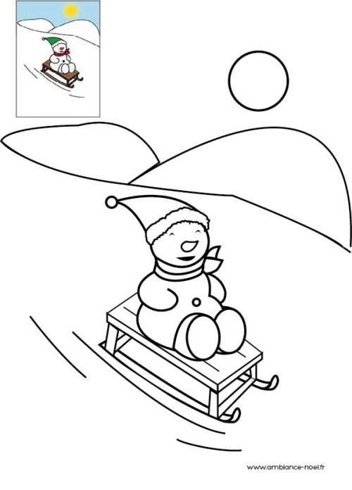 Coloriage Bonhomme De Neige Noel.Coloriage De Noel Bonhomme De Neige Qui Fait De La Luge A Imprimer