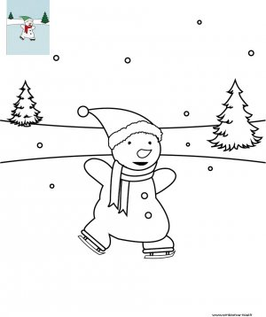 Coloriage de Noël Bonhomme de neige à la patinoire à imprimer gratuitement pour les enfants