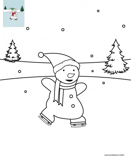 Coloriage de no l bonhomme de neige la patinoire imprimer gratuitement pour les enfants - Dessin patinoire ...