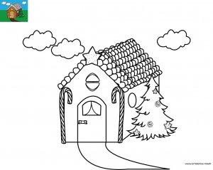 Coloriage la maison en pain d'épice d'Hansel et Gretel à imprimer pour les enfants