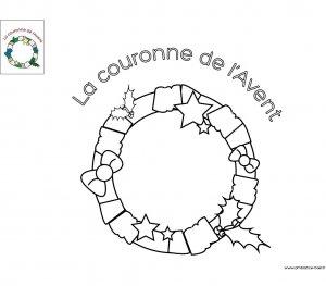 Coloriage La couronne de l'Avent à imprimer pour les enfants