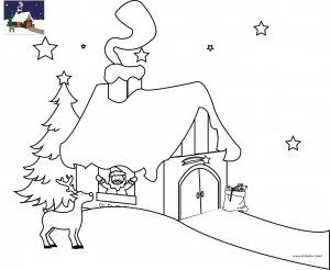 Coloriage La maison du Père Noël en Laponie à imprimer pour