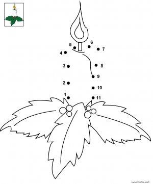 Dessin de points à relier et colorier pour Noël,  La bougie de Noël à imprimer