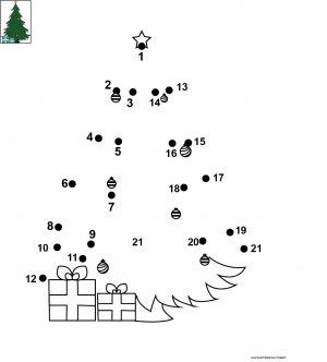 Dessin de points à relier et colorier pour Noël, Mon beau sapin de Noël à imprimer