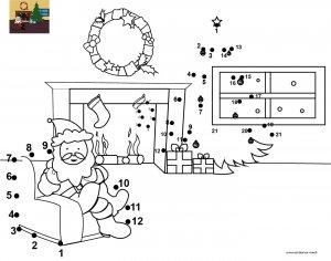 Dessin de points à relier et colorier pour Noël, Le Père Noël dans son fauteuil à imprimer