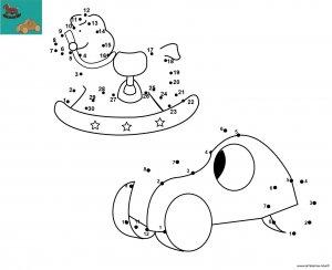 Dessin de points à relier et colorier pour Noël, Jouets en bois de Noël à imprimer