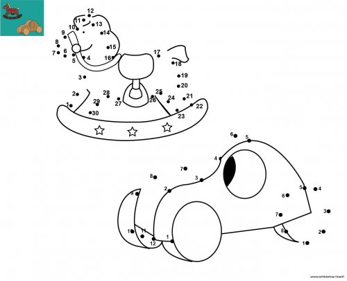 dessin de points relier et colorier pour no l jouets en. Black Bedroom Furniture Sets. Home Design Ideas