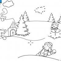 Dessin de points à relier et colorier pour Noël, la bataille de boule de neige à imprimer