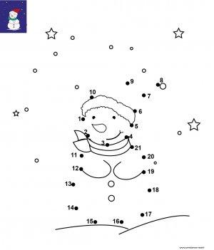 Dessin de points à relier et colorier pour Noël, Le bonhomme de neige avec son bonnet de Noël à imprimer