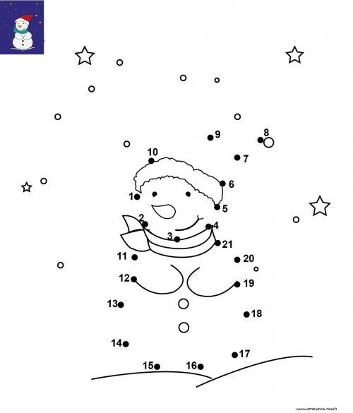 Dessin De Points à Relier Et Colorier Pour Noël Le Bonhomme