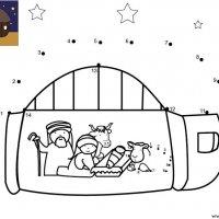 Dessin de points à relier et colorier pour Noël, Les animaux dans la crèche de Noël à imprimer