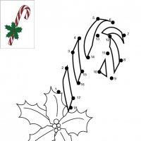 Dessin de points à relier et colorier pour Noël, Sucre d'orge de Noël à imprimer