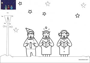 Dessin de points à relier et colorier pour Noël, La chorale de Nöel à imprimer