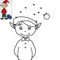 Dessin de points à relier et colorier pour Noël, Le lutin du Père Nöel à imprimer