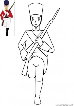 Coloriage de Noël, Le petit soldat en plomb du conte d'Andersen  à télécharger et à imprimer gratuitement