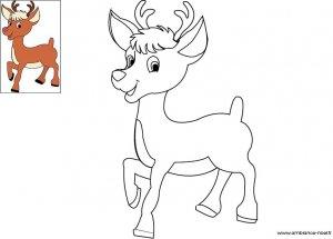 Coloriage de Noël, Rudolphe le petit renne au nez rouge à imprimer pour les enfants