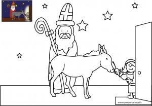 Coloriage De Noël Le Saint Nicolas Avec Son âne à Imprimer