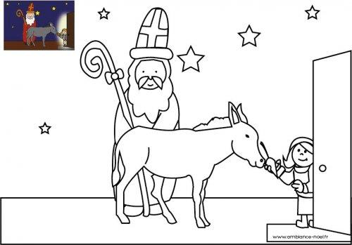 Coloriage De Noel Le Saint Nicolas Avec Son Ane A Imprimer Pour Les Enfants