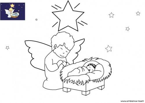 Coloriage de no l l 39 ange de no l pr s de l 39 enfant j sus - Image creche de noel a imprimer ...