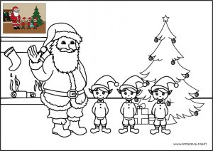 Coloriage de Noël, le Père Noël avec ses lutins à imprimer pour