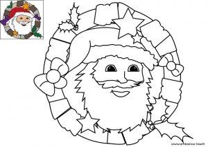 Coloriage de Noël, La couronne de l'Avent du Père Noël à télécharger et à imprimer gratuitement