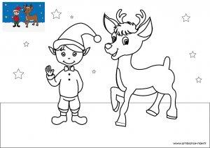 Coloriage de Noël, Le lutin du Père Noël avec un renne à télécharger et à imprimer gratuitement