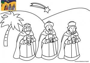 Coloriage de Noël, Les rois mages suivant l'étoile du berger à télécharger et à imprimer gratuitement