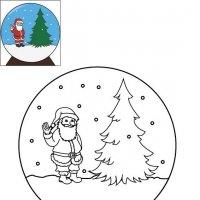 Coloriage de Noël, La boule à neige de Noël à imprimer pour les enfants