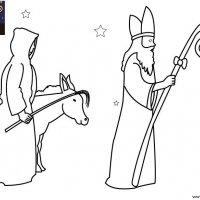Coloriage de Noël, Le Saint Nicolas et le Père Fouettard avec leur âne à imprimer pour les enfants