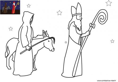 Coloriage De Noel Le Saint Nicolas Et Le Pere Fouettard Avec Leur Ane A Imprimer Pour Les Enfants