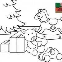 Coloriage de Noël, Les jouets au pied du sapin de Noël à imprimer pour les enfants