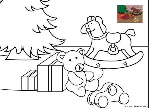coloriage de no l les jouets au pied du sapin de no l. Black Bedroom Furniture Sets. Home Design Ideas
