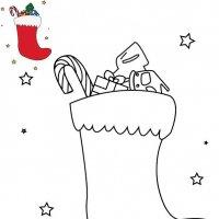 Coloriage de Noël, La chaussette remplie de cadeau de Noël à imprimer pour les enfants