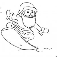 Coloriage de Noël, Le Père Noël qui fait du surf à imprimer pour les enfants